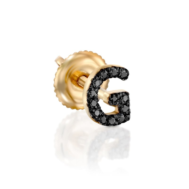 Black Diamond Yellow gold earring