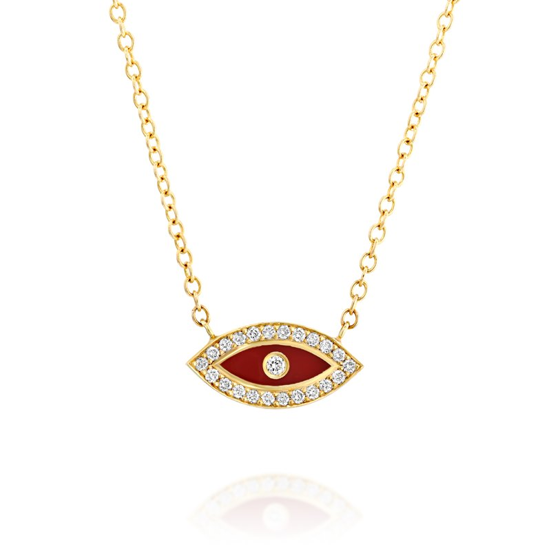 Red enamel eye yellow gold necklace