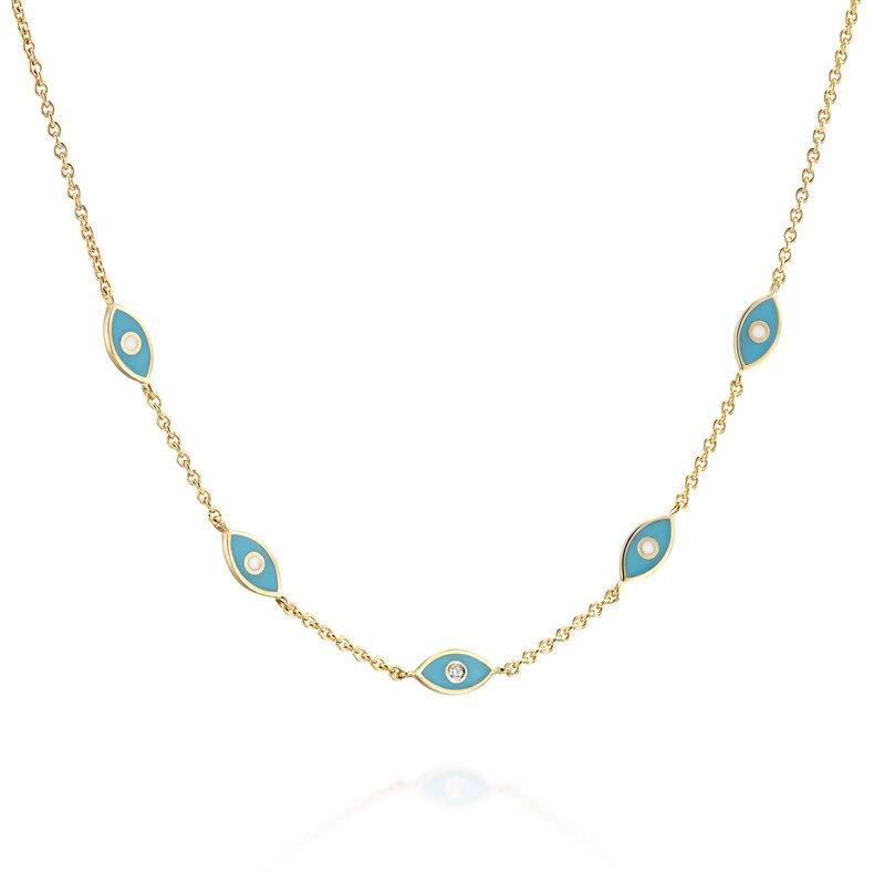 Blue eye Yellow gold Necklace