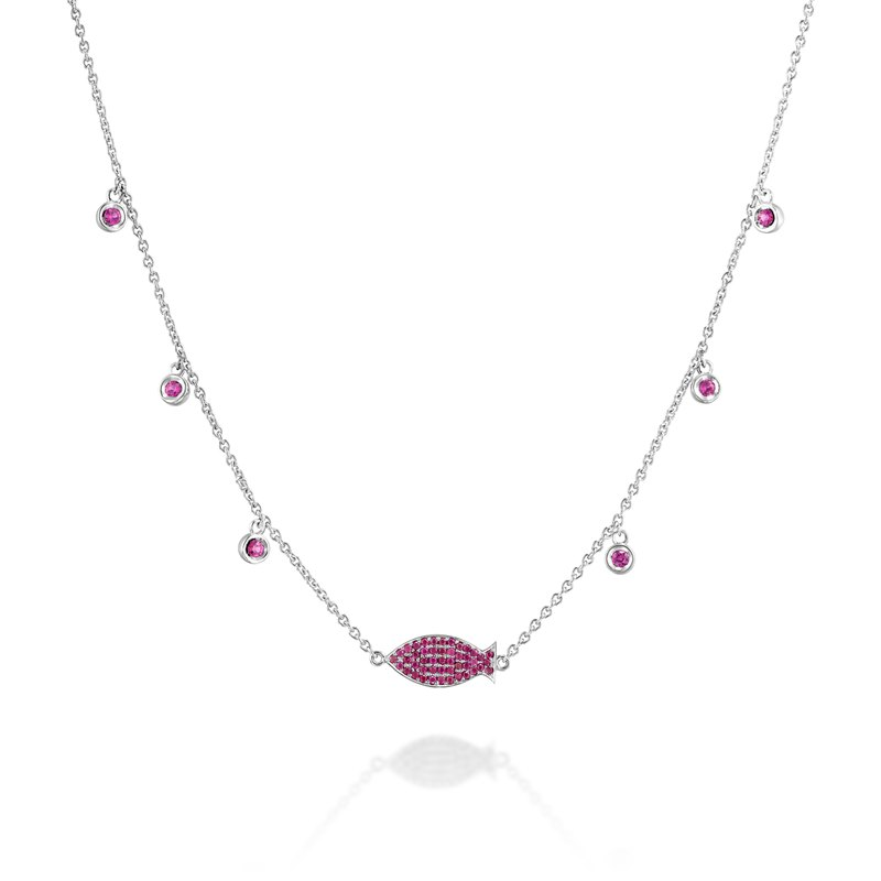 Ruby fish White gold necklace