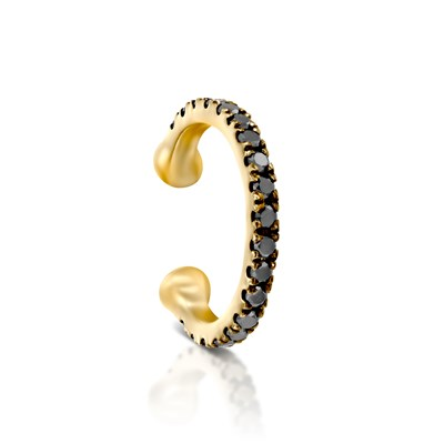 Yellow Gold black diamond helix