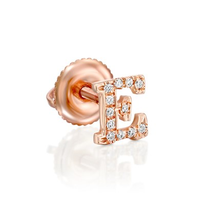 Letter Diamond Rose gold Earring