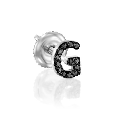 Black Diamond white gold earring