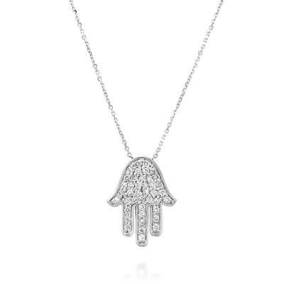 Hamsa White gold Necklace