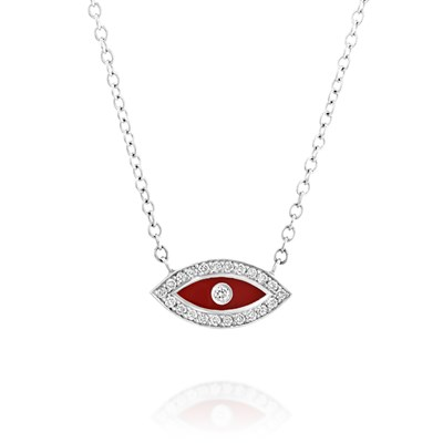 Red enamel eye White gold
