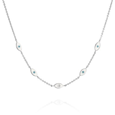White eye white gold Necklace