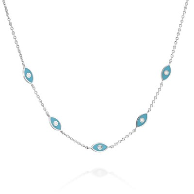 Blue eye White gold Necklace