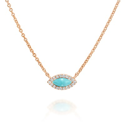 Blue eye Rose gold Necklace