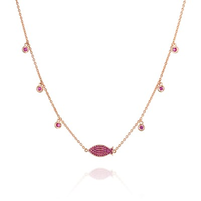 Ruby fish Rose gold necklace