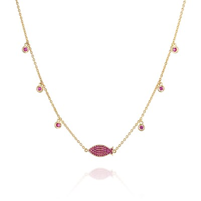 Ruby fish Yellow gold necklace
